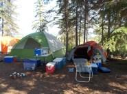 Overcrowded island at Kinnaird Lake (9 tents)