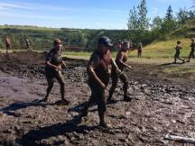 Lots and lots of mud at Mud Hero. This photo was taken on Saturday, when it was sunny, and not cold.