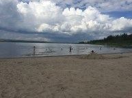 A beautiful beach at Garner Lake, with threatening clouds