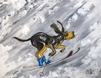 "SOLD: ""Winter Hound"" - acrylic - 11x14"""