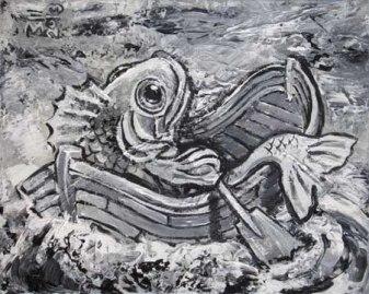 "SOLD: ""BW Rowing Fish"" - acrylic- 10x8"""