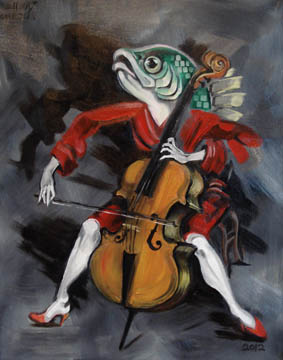 """For Sale: """"Fish Playing Cello"""" - oil on canvas - 11x14"""""""