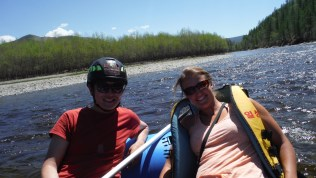 Bold and me on the raft when the river was quiet
