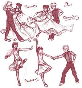 Various dance poses
