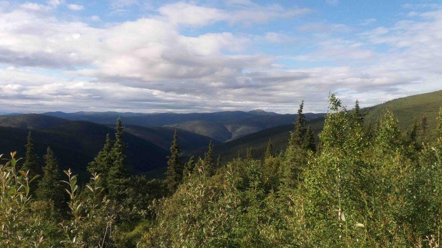 Top of the World Highway, Yukon, Canada, vlak voor grens Alaska.