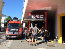 Preparations for the Tour de Suisse last weekend in Lugano