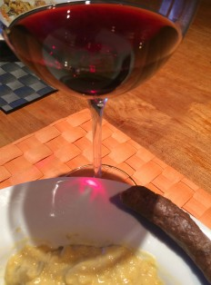 St Saphorin Humagne Rouge with creamy red lentils and boerwurs sausage