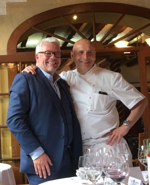 Martin Wiederkehr from La Cave de Genève, left, with chef Philippe Chevrier