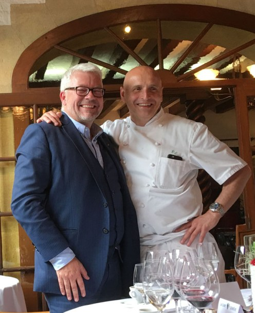 Martin Wiederkehr from La Cave de Genève, left, with chef Philippe Chevrier