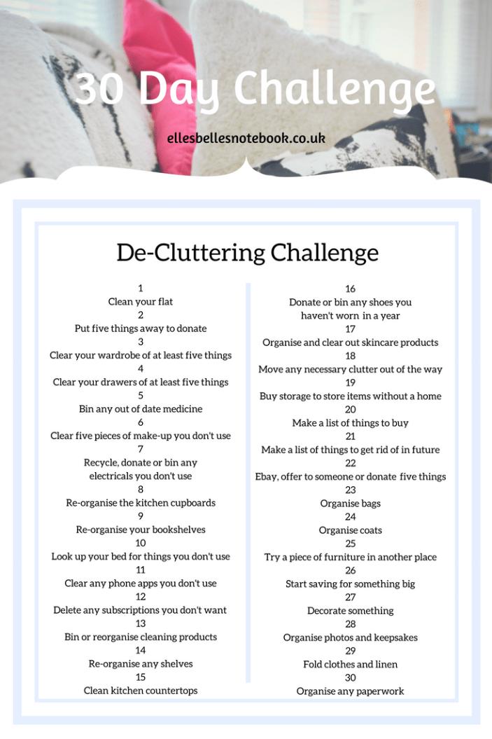 De-Cluttering 30 day challenge