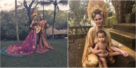 Image result for Chrissy Teigen and John Legend Try on Traditional Garb on Vacation in Bali with Daughter Luna