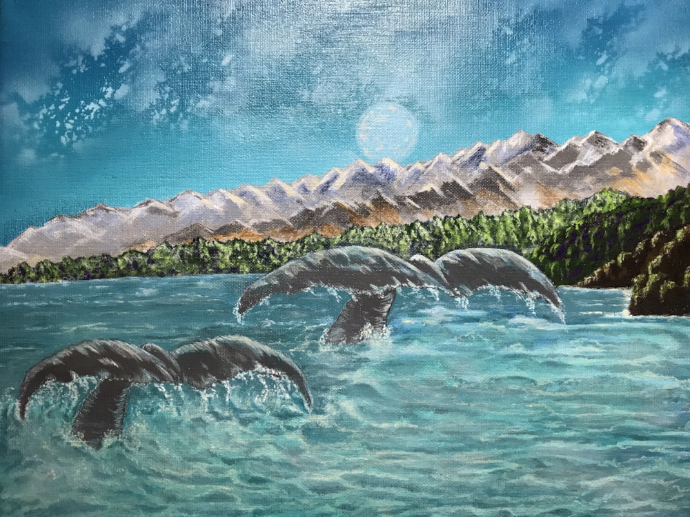 Moonlight Whale Tail Acrylic Painting: