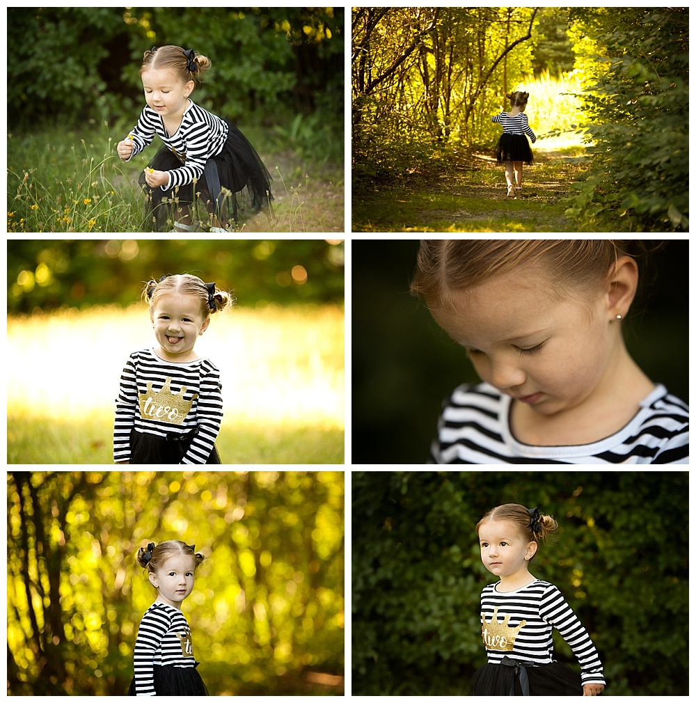 Collage of two year old girl exploring nature