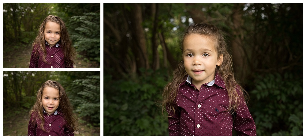 collage of little boy with long hair with a background of trees
