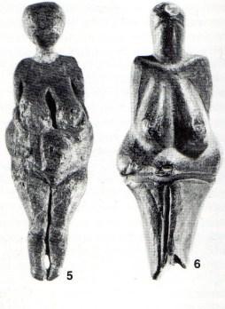 5. Venus of Kostenki (Moravia), Mammoth Ivory, Palaeolithic (Gravettian). 6. Venus of Vestonice (Moravia). Loess and powdered bone. Palaeolithic (Gravettian)