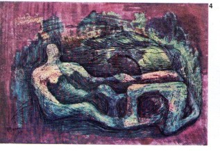 Henry Moore (b.1898): Reclining Figure. Study for sculpture in wood. 1940. Private Collection. p300