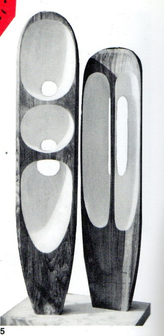 Barbara Hepworth (1903-75): Two Figures (Menhirs).Teakwood. 1954-5. Formerly collection of the artist. p300