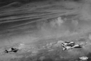 Many persistent and spreading contrails in the 1940s