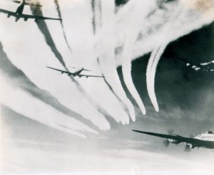 Heavy con. trails from hight squadron.  non in low squad. 100th bomb group Sept 1944