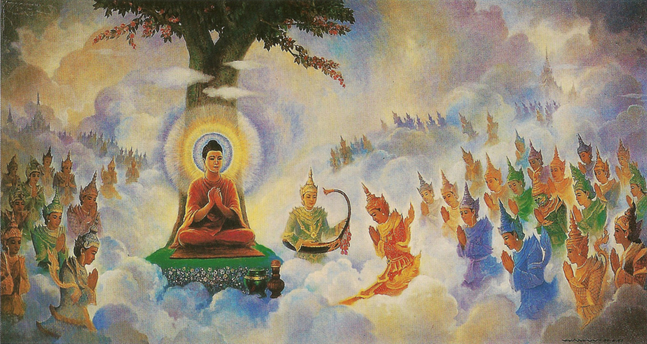 """Buddha preaching Abhidhamma in Tavatimsa"" by Hintha - Own work. Licensed under CC BY-SA 3.0 via Wikimedia Commons - https://commons.wikimedia.org/wiki/File:Buddha_preaching_Abhidhamma_in_Tavatimsa.jpg#/media/File:Buddha_preaching_Abhidhamma_in_Tavatimsa.jpg"