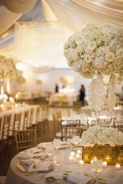 large lush florals, white and gold wedding