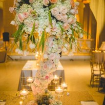 lush floral, blush and peach wedding flowers, peach centerpieces