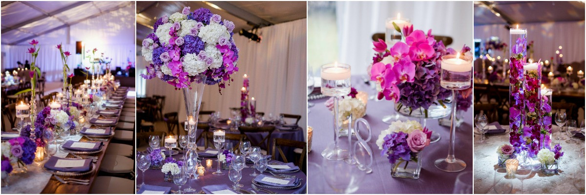 purple centerpieces, memphis wedding planner