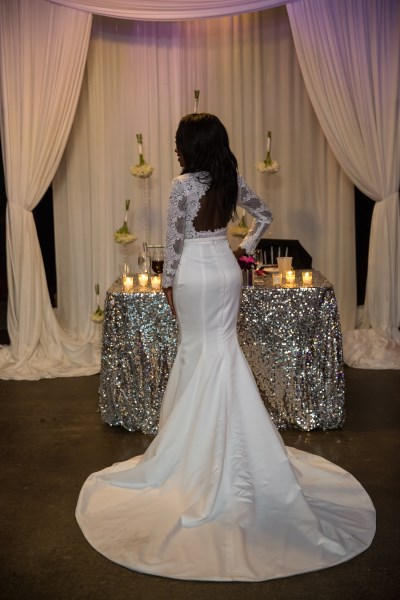 bride, sweetheart table, sequin