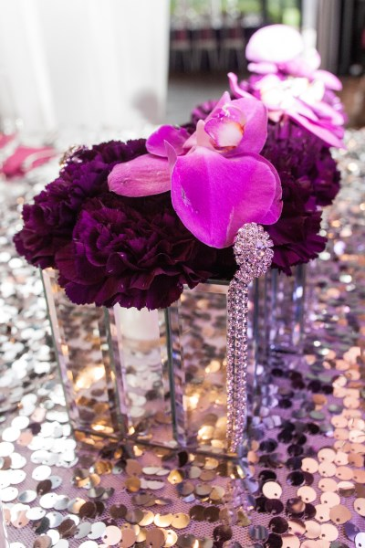 orchids, decor, purple, bling