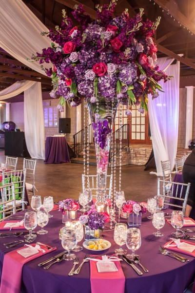 centerpiece, orchids, roses, purple