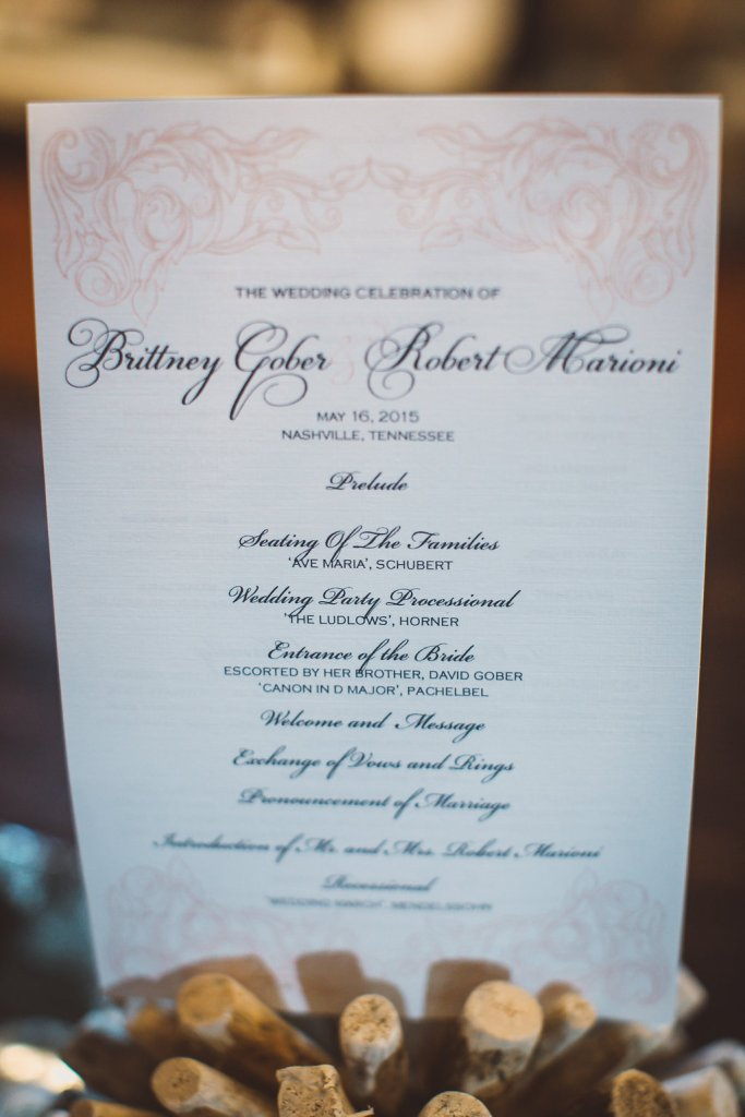 program, nashville wedding