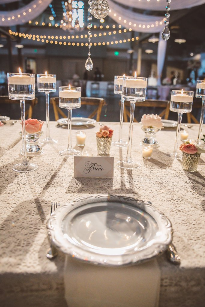 sweetheart table, plate settings, candles