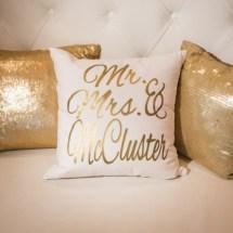 custom pillows, lounge furniture, weddings