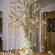 gold tree decor, escort table decor, nashville designer