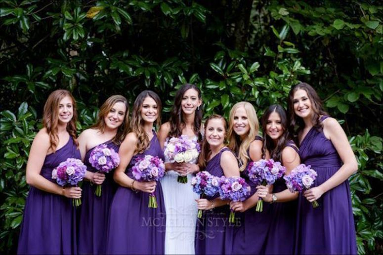 wedding dresses, purple, bridesmaids, bride