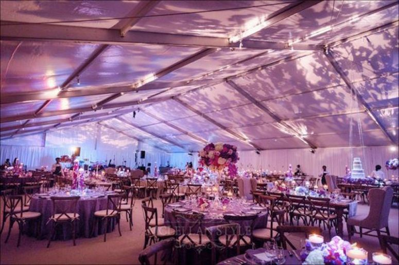 reception under a tent, textured lighting