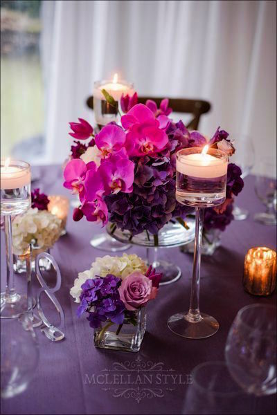 purple flowers, purple linen, candles