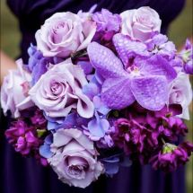 purple bouquet, orchids, different shades of purple
