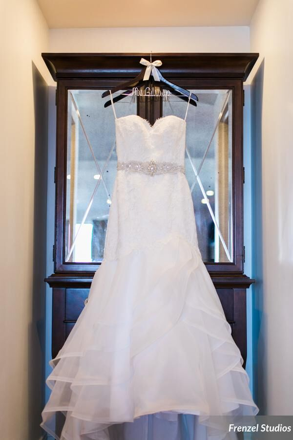 wedding gown, hanging