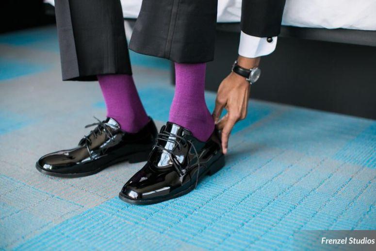 groom, shoes, purple socks