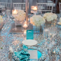 table scape, tiffany themed wedding