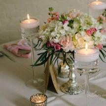 greenery, stemware, roses
