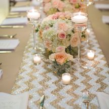 table runner, centerpiece, pink