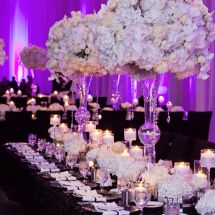 purple, white, centerpiece