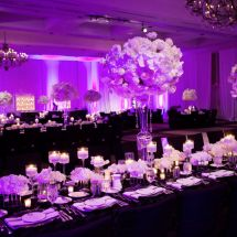 nfl wedding, purple, centerpieces