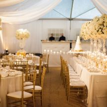 reception, centerpieces, gold