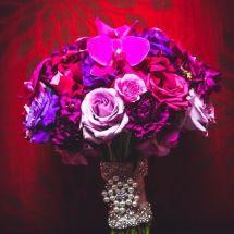 bride bouquet, purple, orchids, roses