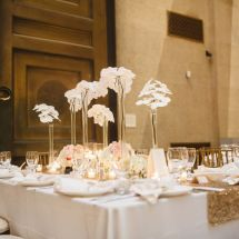 orchids, sequin linen, gold, white