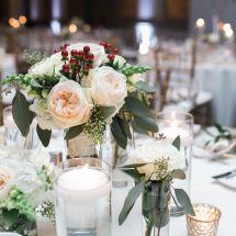 garden roses, greenery, reception