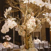 large centerpiece, gold, jewels, orchids